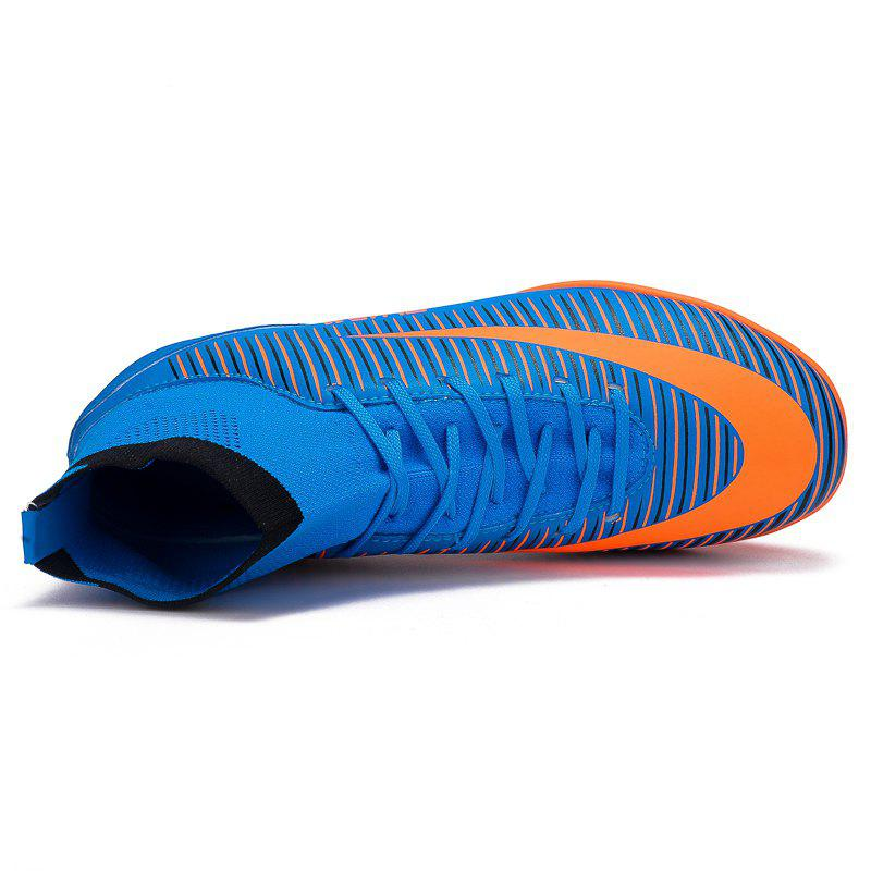 Men's Sports Shoes Color Block Lacing Fashion Football Shoes - BLUE 43