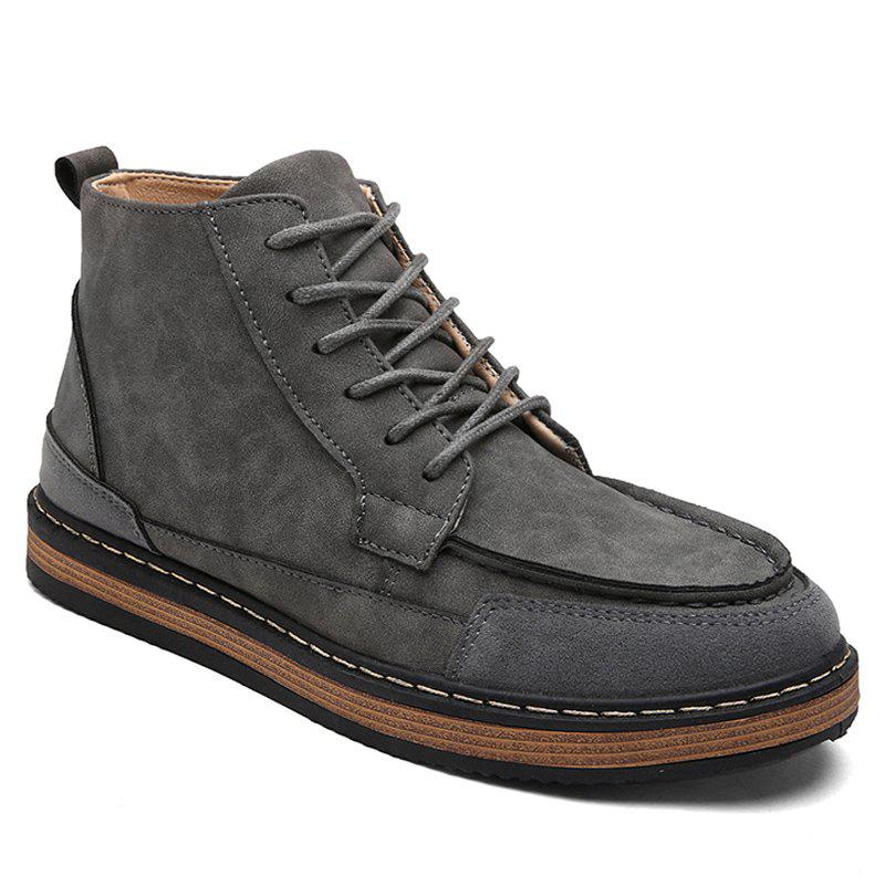 Men Boots Retro Style Solid Color Durable Comfy Shoes GRAY