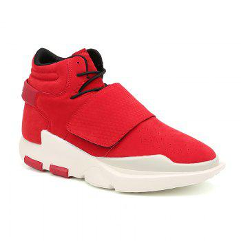 Men's Sports Boots High Top Lace Up Thick Sole Trendy Comfy Shoes - RED RED