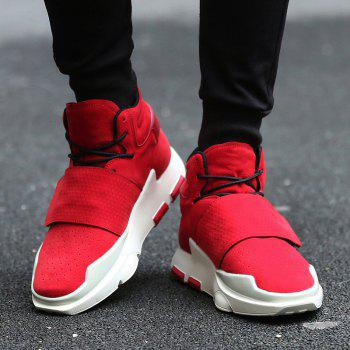 Men's Sports Boots High Top Lace Up Thick Sole Trendy Comfy Shoes - RED 43