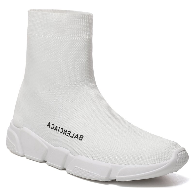 Men's Sports Boots High Top Thick Sole Trendy Shoes - WHITE 43