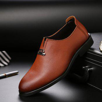 Men's  Shoes Business Durable Pointed Toe Formal Shoes - BROWN 43