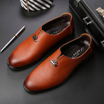 Men's  Shoes Business Durable Pointed Toe Formal Shoes - BROWN 40