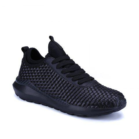 Men's Sports Fashion Shoes Comfy Knitted Chic Breathable Shoes - BLACK 42
