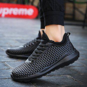 Men's Sports Fashion Shoes Comfy Knitted Chic Breathable Shoes - BLACK 41