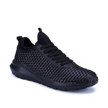 Men's Sports Fashion Shoes Comfy Knitted Chic Breathable Shoes - BLACK BLACK