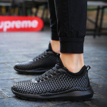 Men's Sports Fashion Shoes Comfy Knitted Chic Breathable Shoes - BLACK 39