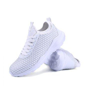 Men's Sports Fashion Shoes Comfy Knitted Chic Breathable Shoes - WHITE 45