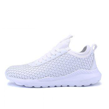 Men's Sports Fashion Shoes Comfy Knitted Chic Breathable Shoes - WHITE 43