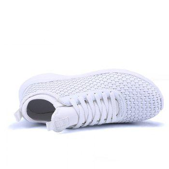 Men's Sports Fashion Shoes Comfy Knitted Chic Breathable Shoes - WHITE 44