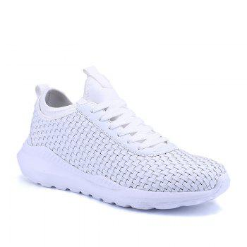 Men's Sports Fashion Shoes Comfy Knitted Chic Breathable Shoes - WHITE WHITE