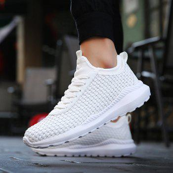 Men's Sports Fashion Shoes Comfy Knitted Chic Breathable Shoes - WHITE 40
