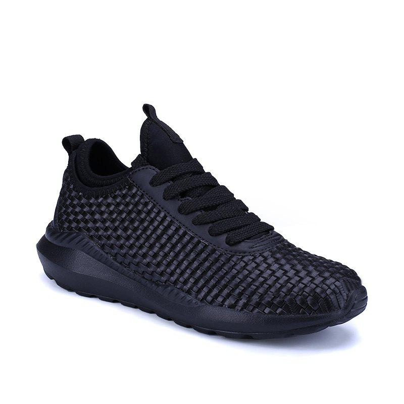 Men's Sports Fashion Shoes Comfy Knitted Chic Breathable Shoes - BLACK 44