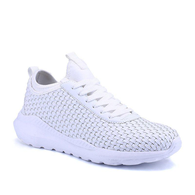 Men's Sports Fashion Shoes Comfy Knitted Chic Breathable Shoes - WHITE 41