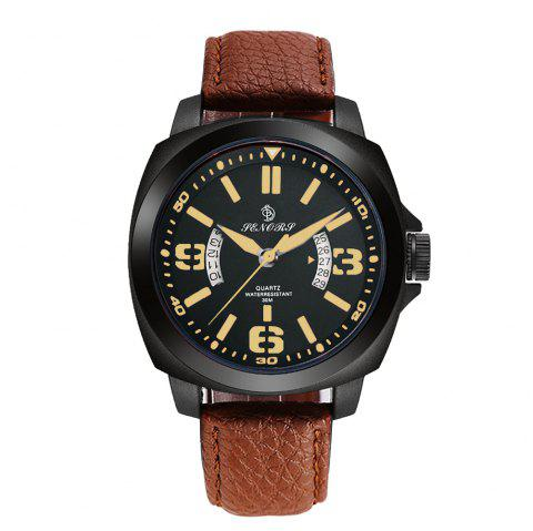Senors SN002 Fashion Business Date Quartz Watch with Leather Strap - BLACK/BROWN