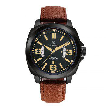 Senors SN002 Fashion Business Date Quartz Watch with Leather Strap - BLACK AND BROWN BLACK/BROWN