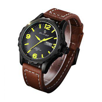 Senors SN003 Fashion Business Date Quartz Watch with Leather Strap - BLACK/BROWN