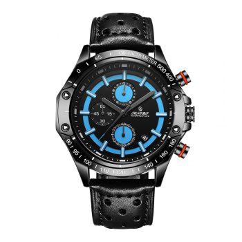 Senors SN008 Fashion Business Date Quartz Watch with Leather Strap - BLACK AND BLUE BLACK/BLUE