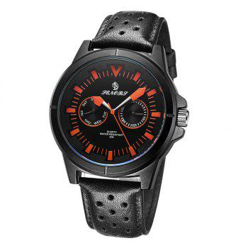 Senors SN009 Fashion Business Date Quartz Watch with Leather Strap - BLACK AND ORANGE BLACK/ORANGE