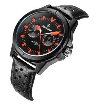 Senors SN009 Fashion Business Date Quartz Watch with Leather Strap -  BLACK/ORANGE