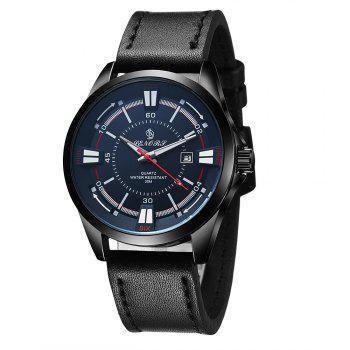 Senors SN010 Fashion Business Date Quartz Watch with Leather Strap - BLACK BLACK