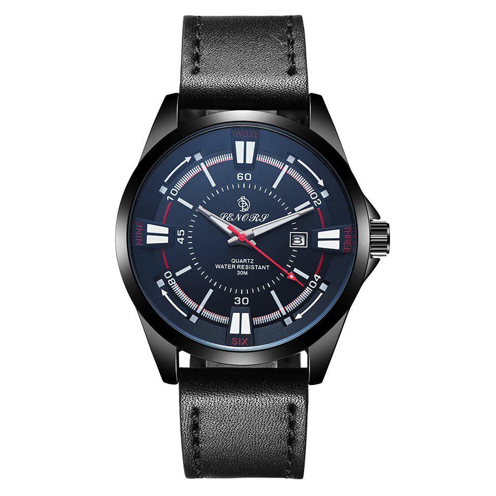 Senors SN010 Fashion Business Date Quartz Watch with Leather Strap - BLACK