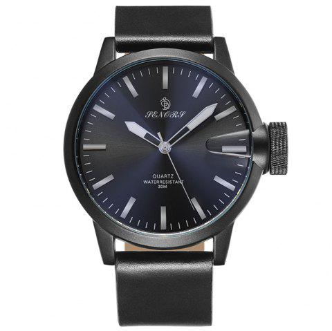 Senors SN011 Fashion Business Date Quartz Watch with Leather Strap - BLACK