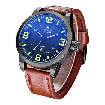 Senors SN014 Fashion Business Date Quartz Watch with Leather Strap -  BLACK
