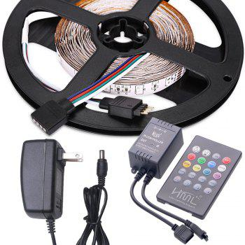 HML 2pcs 5M 24W RGB 2835 300 LED Strip Light  - RGB COLOR with IR 20 Keys Music Remote Control and US Adapter -  RGB