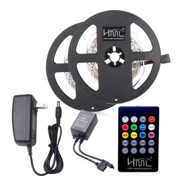 HML 2pcs 5M 24W RGB 2835 300 LED Strip Light  - RGB COLOR with IR 20 Keys Music Remote Control and US Adapter - RGB RGB