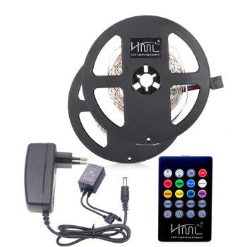 HML 2pcs 5M 24W RGB SMD2835 300 LED Strip Light - RGB COLOR with IR 20 Keys Music Remote Control and EU Adapter - RGB RGB