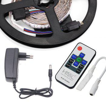 HML 2pcs 5M 24W RGB 2835 SMD 300 LED Strip Light with RF10Keys Remote Control+ DC Adapter(EU Plug) - RGB