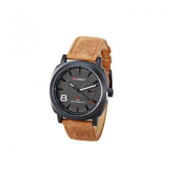CURREN 8139 2347 Business Casual Men Waterproof Band Watch - COFFEE AND BLACK COFFEE/BLACK