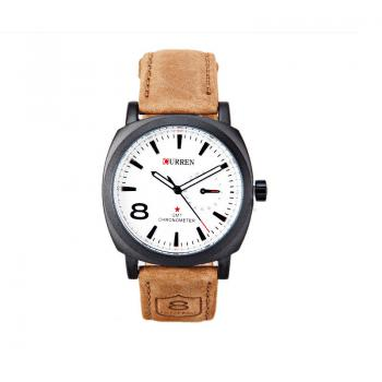 CURREN 8139 2347 Business Casual Men Waterproof Band Watch - COFFEE + WHITE COFFEE / WHITE