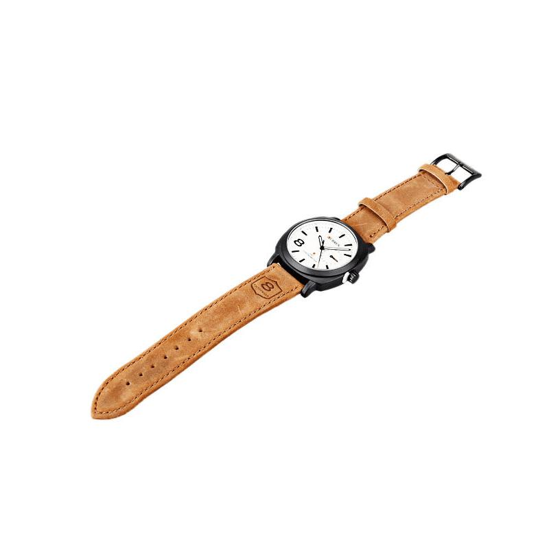 CURREN 8139 2347 Business Casual Men Waterproof Band Watch - COFFEE / WHITE