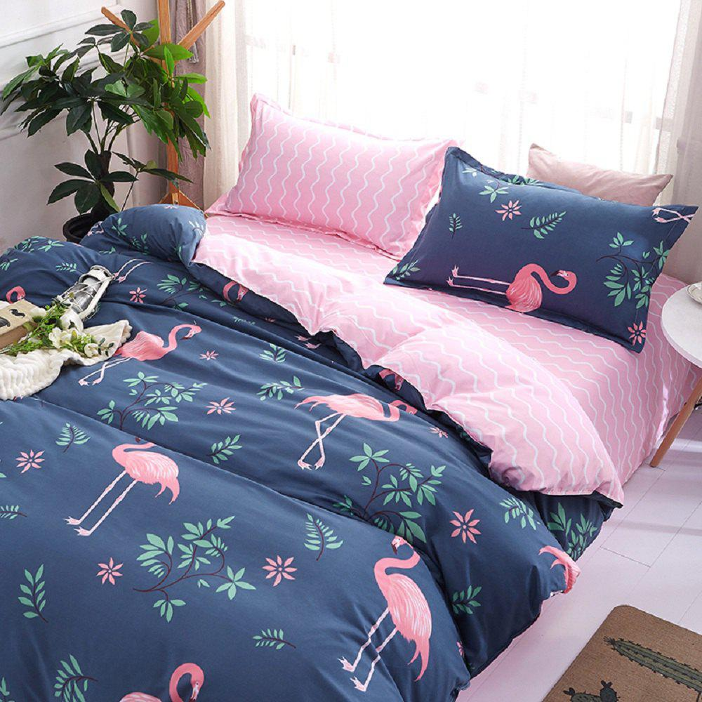 Fashion Bird Pattern Personalized Polyester Bedding Set - COLORMIX EURO KING