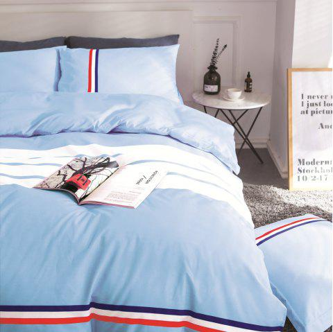 Fashion Active Color Stripe Standard Bedding Set - LIGHT BLUE KING