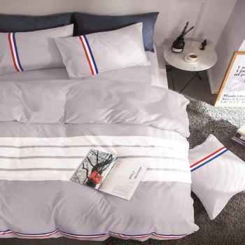Fashion Active Color Stripe Standard Bedding Set - GRAY GRAY