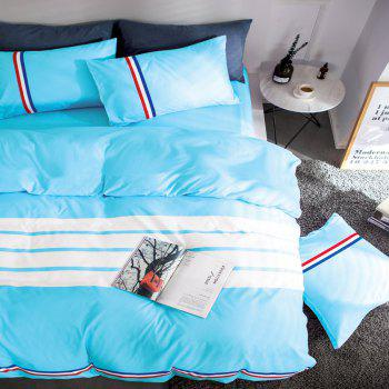 Fashion Active Color Stripe Standard Bedding Set - LAKE BLUE KING
