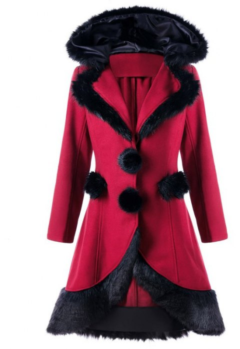 2017 Christmas Hair Collar Spliced Coat - RED XL