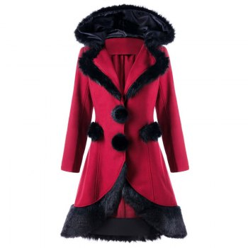 2017 Christmas Hair Collar Spliced Coat - RED RED