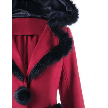 2017 Christmas Hair Collar Spliced Coat - RED M