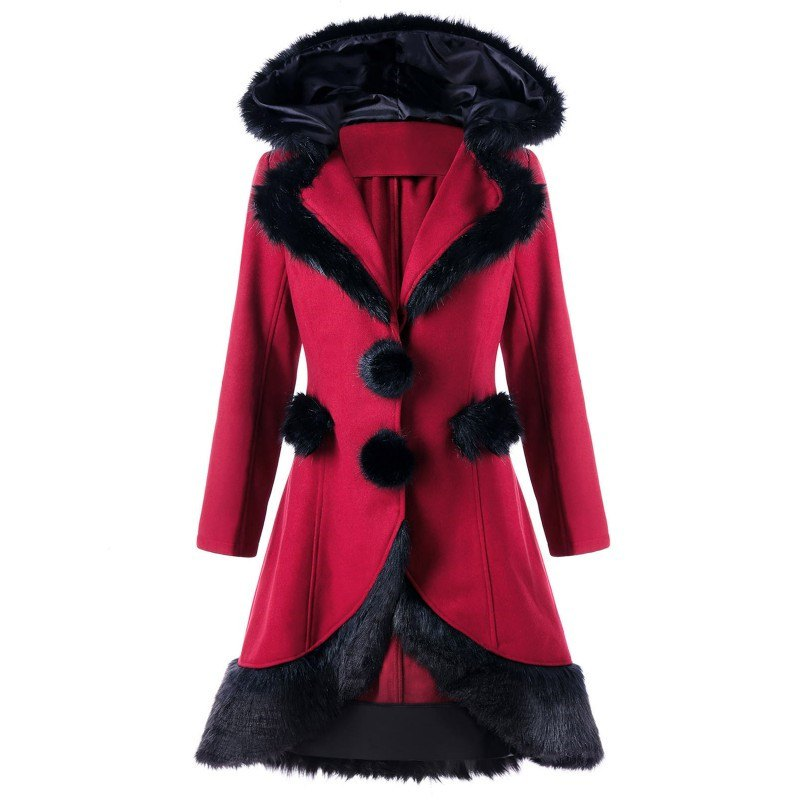 2017 Christmas Hair Collar Spliced Coat - RED L
