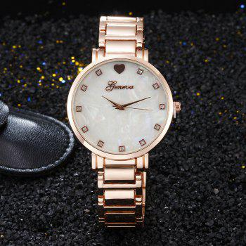 Geneva  Stainless Steel Love Heart Quartz Women Wrist Watch -  ROSE GOLD