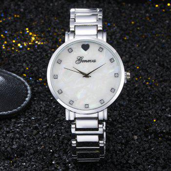 Geneva  Stainless Steel Love Heart Quartz Women Wrist Watch - SILVER