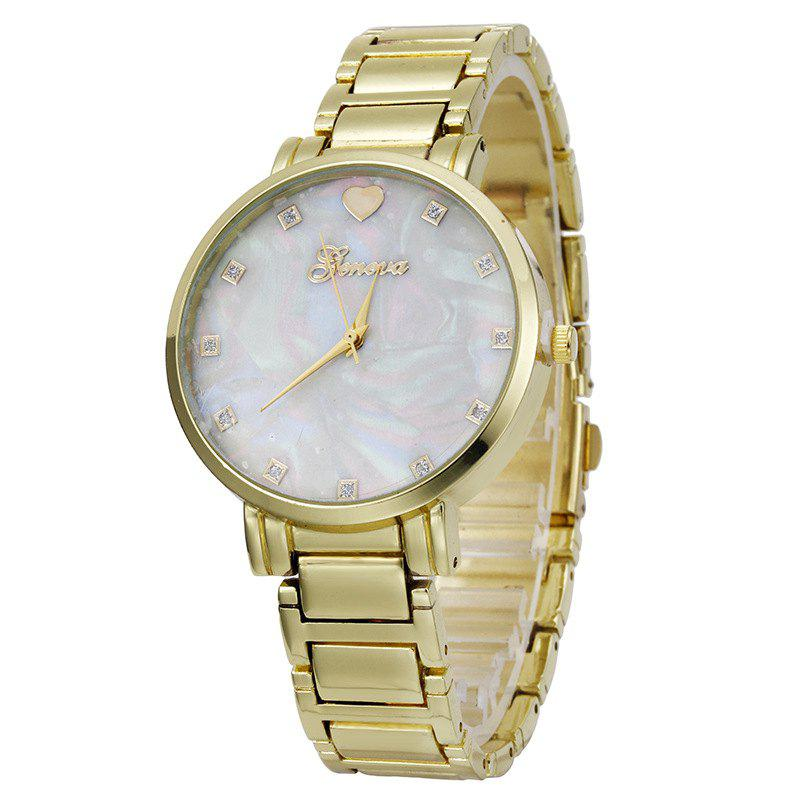 Geneva  Stainless Steel Love Heart Quartz Women Wrist Watch - GOLDEN