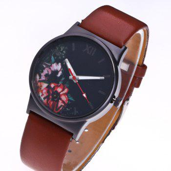Fashion Women Flower Quartz Watch - BROWN