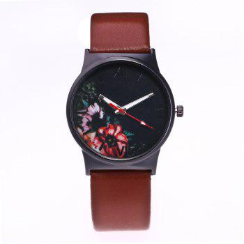 Fashion Women Flower Quartz Watch - BROWN BROWN