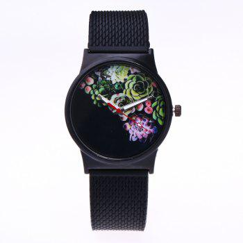 Trendy Simple Silicone Band Women Watch - BLACK BLACK