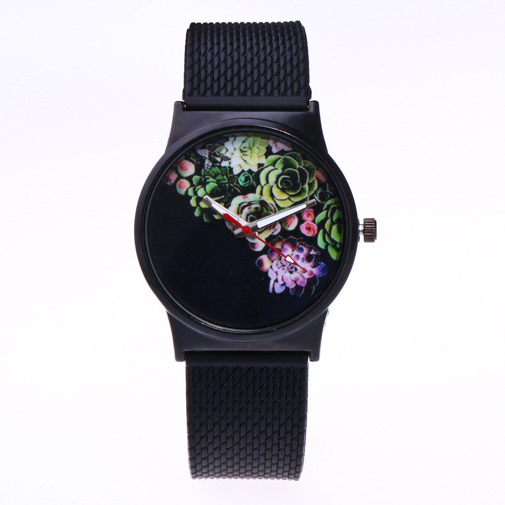 Trendy Simple Silicone Band Women Watch - BLACK
